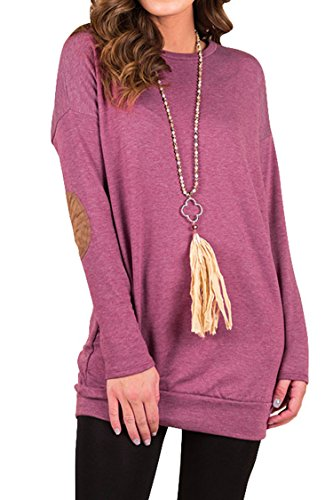 Pink Queen Womens Slim Fit Crew Neck Long Sleeve Solid Pullover Top Purple L
