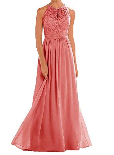 - Firose High Neckline Halter Lace A-line Chiffon Floor-length Bridesmaid Dress Coral US 16