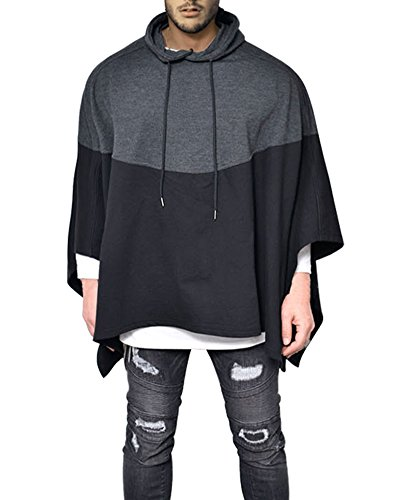 - Demetory Men's Color Block Oversized Batwing Sleeves Hooded Poncho Cape Black XX-Large