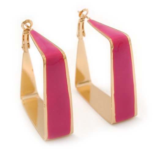 Contemporary Square Fuchsia Enamel Hoop Earrings In Gold Plating - 40mm Width 2R40h58nm