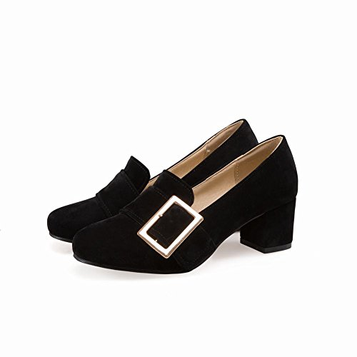 Pumps Buckle Square Shoes Cuff Fashion Heel Womens Carolbar Mid Toe Black qPwgP8S