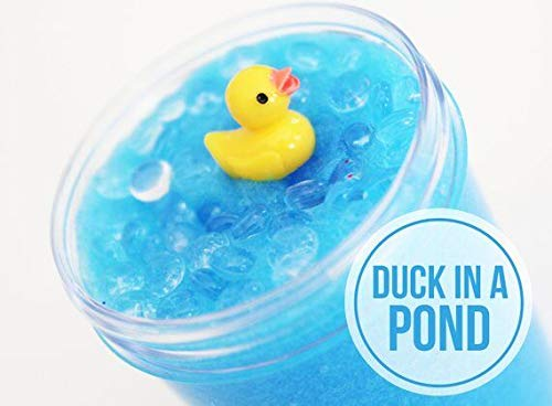 EASYCITY Duck in a Pond Clear Slime,Light Blue Slime with Fishbowl Beads & Duck Charm Slime