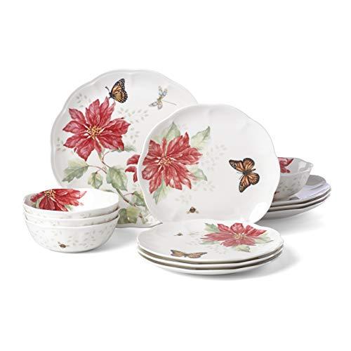 Lenox Butterfly Meadow Christmas Poinsettia 12 Piece Dinnerware Set
