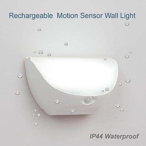 zeefo night lights bright waterproof ip44 motion sensor led wall night light with lithium battery