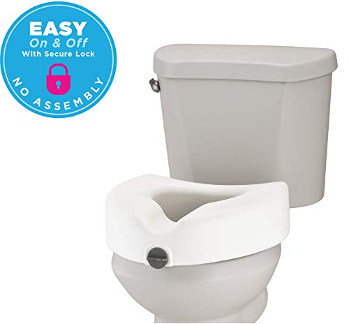 - NOVA Medical Products Elevated Raised Toilet Seat, Round Design, Locking, Easy On and Off, for Standard and Elongated Toilets