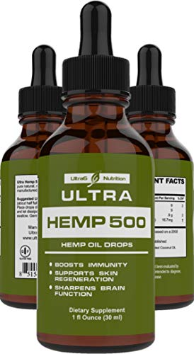 Hemp Oil for Pain Relief - Best Hemp Oil 500mg. Helps with Anxiety, Sleep, Pain, Stress, and Overall Mood - Best Hemp Oil Extract w/Omega 3 (Omega 3 6 9) - Natural Hemp Extract via Hemp Oil Drops.