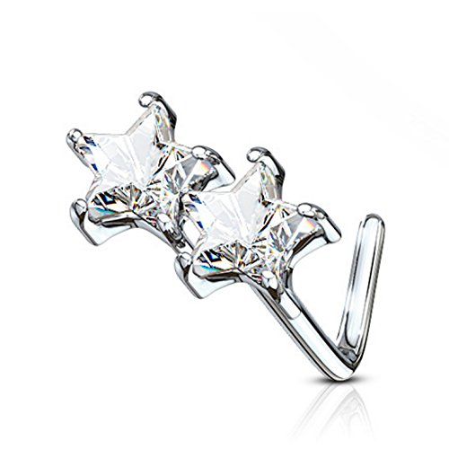 Double Star CZ L-Shaped Surgical Steel Nose Ring Stud 20 Gauge (Clear) ()