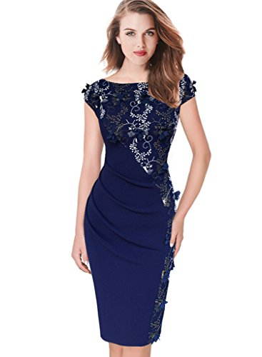 Vfemage Womens Elegant Embroidery Ruched Party Evening Bodycon Dress
