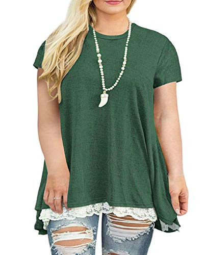 Weilim Women's Plus Size XL-4XL Lace Short Sleeve Tunic Tops Casual Round Neck Top Blouses Green 14 Plus