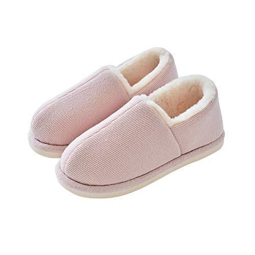 Pink Garder Anti Chaussures Doux Fond Couleur dérapant Confortable Lapin Chaud Coton en Pantoufles 37 Pink Tissu épais Femme 36 intérieur Maison Talon Velours Tricot Coton en TD Coton Taille SYawqx