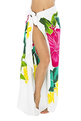 Back From Bali Sarong Wrap Hand Painted Coconut Clip Womens Beach Swimsuit Cover up Hibiscus White