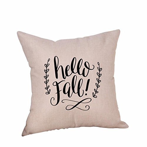 Mysky Halloween Pumpkin Linen Throw Pillow Zipper Closure Case Cushion Cover for Home -