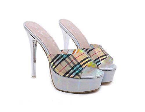 zapatos 14 zapatos Stiletto tamaño corte zapatillas vestir 4 Cool Toe la mujeres 34 plataforma de mulas gruesa bomba OL Peep de Sexy partido del Eu cm Onfly 40 Colormatch Plata cm zapatos fgRIxYqwY