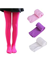 Happy Cherry Girls Solid Knee High Socks Pure Color Thigh High Stockings 4 Pack 3-13Y