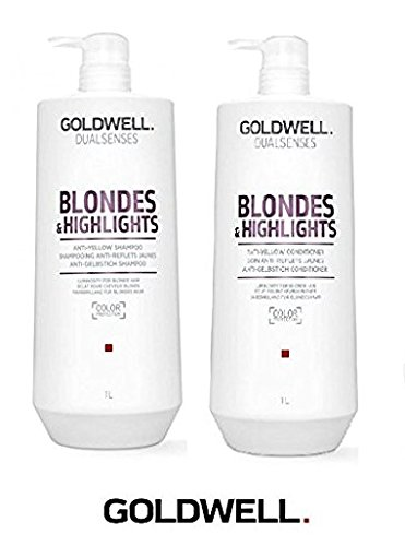 Goldwell Dualsenses Blondes And Highlights Anti-Yellow Shampoo & Conditioner Duo Set (with Sleek Compact Mirror) (33.2 oz / 1000ml Duo Kit) (Goldwell Shampoo Blonde)