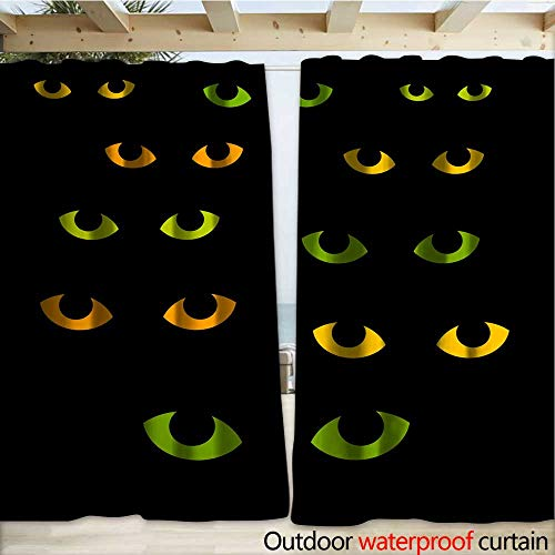 (warmfamily Outdoor Curtain Panel for Patio Cat Eyes Halloween Illustration Outdoor Curtain W108 x)