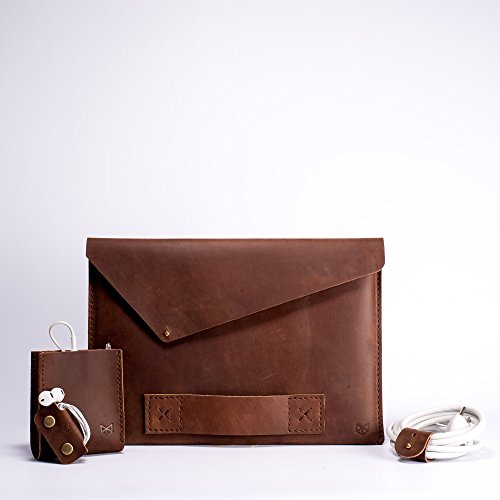 Macbook Pro retina Leather Sleeve Kit, Traveler Kit, Men Gift, Father's Day Gift. // Slant by Capra Leather