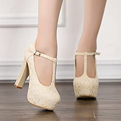 getmorebeauty Women's Marty Janes T-Strappy Lace Women Dress Wedding Shoes 8 B(M) US