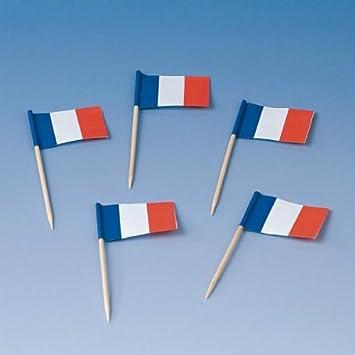 200 Flaggenpicker Frankreich Party Franzosische Farben Blau