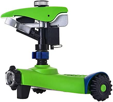 GREEN MOUNT Lawn Sprinkler, Automatic 360 Rotating Adjustable Garden Water  Sprinkler, Stable Wheel Base with 2 Interchange Sprinkler Heads for Garden