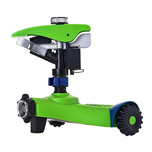 GREEN MOUNT Lawn Sprinkler, Automatic 360 Rotating Adjustable Garden Water Sprinkler, Stable Wheel Base with 2 Interchange Sprinkler Heads for Garden Lovers
