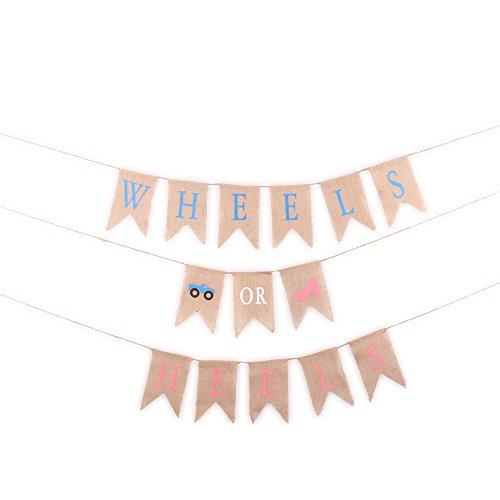 Junxia Wheels Or Heels Burlap Banner for Party Decoration