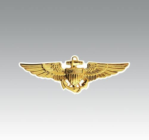 American Vinyl Gold Navy Aviator Wings Shaped Sticker Logo Naval Pilot Fly Aviation