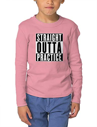 HAASE UNLIMITED Straight Outta Practice - Sports Athlete Long Sleeve Toddler Cotton Jersey Shirt (Light Pink, 4T)
