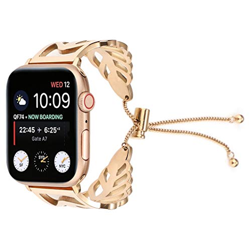 IslandseLuxury Milanese Stainless Steel Metal Bracelet Wristband Strap for Apple Watch Series 4 40mm (Rose Gold)