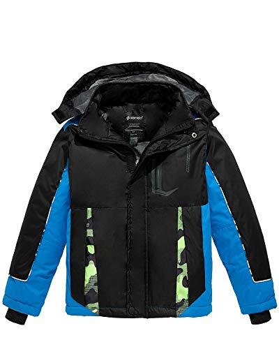 Wantdo Boy's Waterproof Ski Jacket Hood Windproof Fleece Winter Coat Black 10/12 (10 12 Boys Winter Coats)