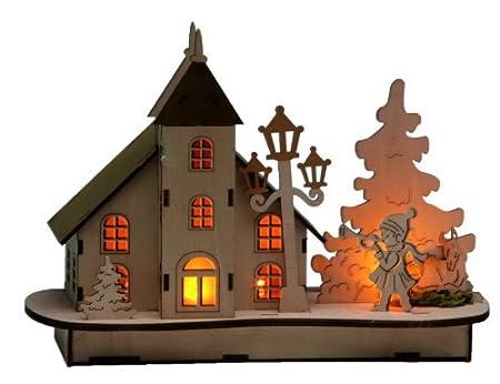Amazon De Kirche Dorfkirche Led Beleuchtet Weihnachtskirche