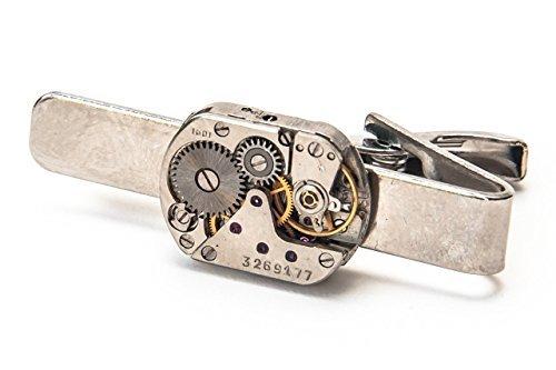 Jeff Jeffers Handmade Men's Oval Watch Movement Tie Clip Steampunk Vintage Wedding Tie Slide Retro Vintage Tie
