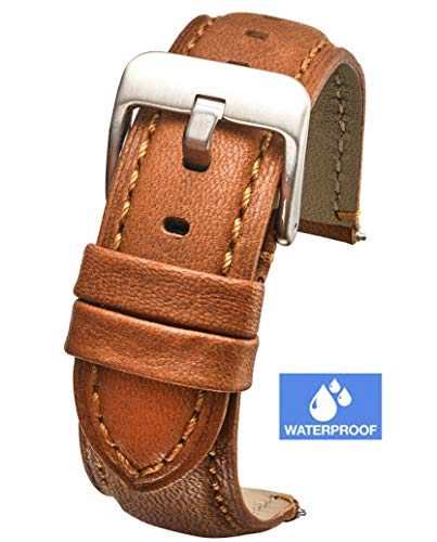 Padded Soft Genuine Waterproof Leather Watch Band - 22mm - tan ()
