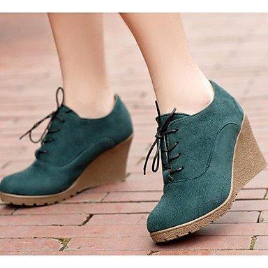 RTRY Zapatos de mujer moda Otoño Invierno Pu botas botas enredaderas Round Toe botines/Botines For Casual Negro Azul Verde US7.5 / EU38 / UK5.5 / CN38