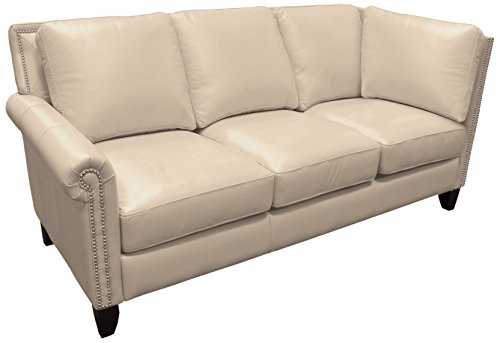 Omnia Leather Benjamin Left Arm 3 Cushion Sofa with Right Return in Leather, with Nail Head, Softstations White Winter