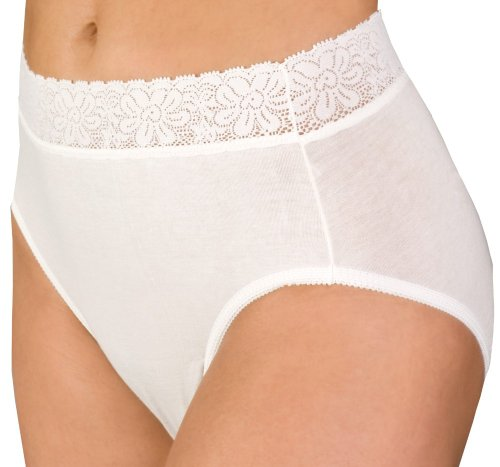 Wearever Lace Trimmed Waist Unique-Dri Incontinence Cotton Panty 2X-Large (Hip: 45-48) White