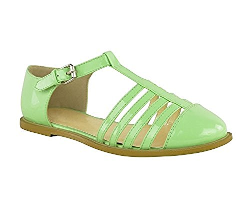 Ladies Women Gladiator Chunky Sole Girls Geek Sandals School Boots Shoes Size Pastal Green Patent Straps Strappy New J15PFJNEPf