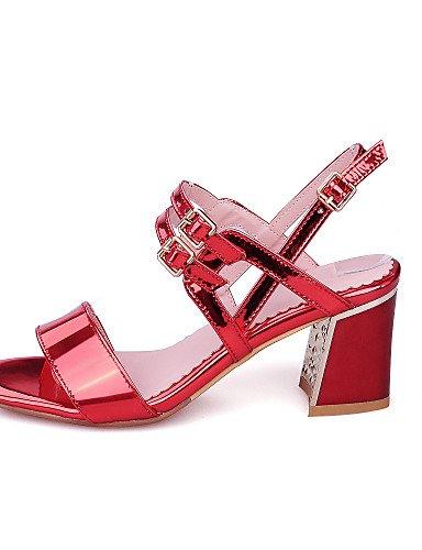 LFNLYX Zapatos de mujer-Tacón Robusto-Tacones / Talón Descubierto / Punta Abierta-Sandalias-Vestido / Fiesta y Noche-Cuero Patentado / Semicuero- Silver