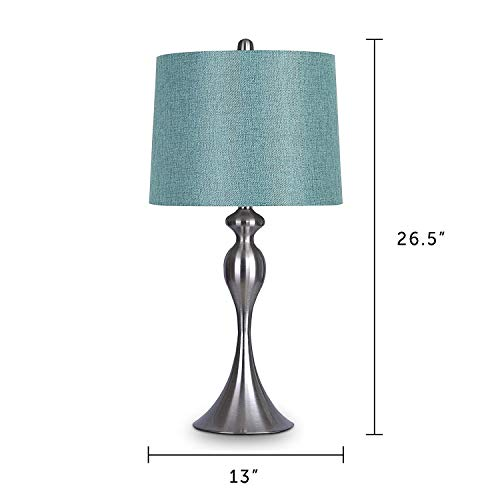 Grandview Gallery Table Lamps with Turquoise Shade, Set of 2 - Linen and Brushed Nickel 26.5 Table Lamps for Bedside, Dressers and Much More - ST90215HT-(W)