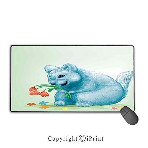 - Extended Mousepad with Durable Stitched Edges,Animal,Dear Blue Mouse with Tulip Bouquet Caricature Hamster Chinchilla Mascot Rodent Toy,Multicolor, Non-Slip Rubber Base,9.8