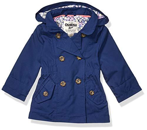 Osh Kosh Baby Girls Hooded Trench Coat, Indigo Blue, 18 Months