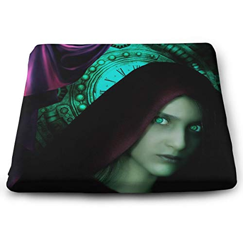 Comfortable Seat Cushion Print Fantasy Girl Clock Curtain Goth - Memory Foam Filled for Outdoor Patio Furniture Garden Home Office