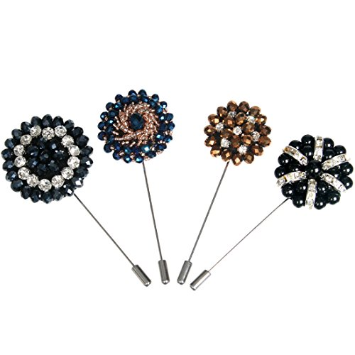 - kilofly Men's Bead Lapel Pin Wedding Suit Boutonniere Stick, Value Set of 4