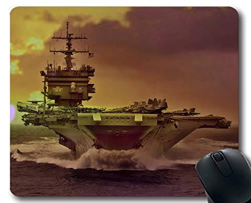 Yanteng Mouse Pads,Aircraft Carrier Sea USS Enterprise Warship Sunset Ocean Boat Gaming Mouse Pads Multi YT53