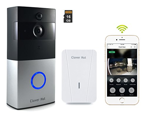 Bell Clover (Smart Video Doorbell Wireless Wi-Fi Security Camera [16GB memory] HD 720P Real-time Video Two-Way Talk Audio IR Night Vision PIR Motion Detection with Indoor Chime)