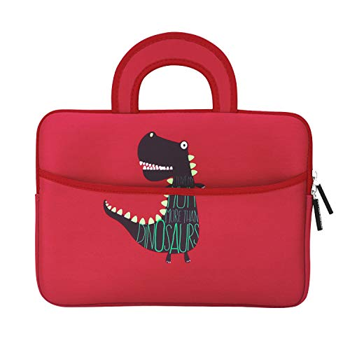 MoKo Sleeve for 7-8 Inch Amazon Tablet, Portable Neoprene Case Bag Fits Fire HD 8, Fire 7 2017/2019, Fire 7 Kids Edition 2017, Kindle E-Reader, Kindle Oasis 2017, Boogie Board Jot 8.5 - Dinosaur Red