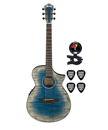 Ibanez AEWC32FM 6 Strings Thinline Acoustic Electric Guitar Package in Blue Burst with Clip On Guitar Tuner and Guitars Cable (Acoustic Electric Guitar Bundle)