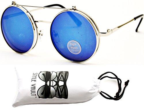 Women Mens Retro Style Flip Up Round Steampunk Sunglasses - 5