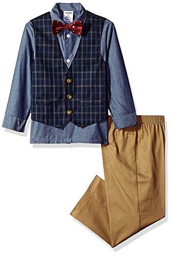 (Izod boys 4-Piece Vest Set with Dress Shirt, Bow Tie, Pants, and Vest, Dark Blue, 2T)
