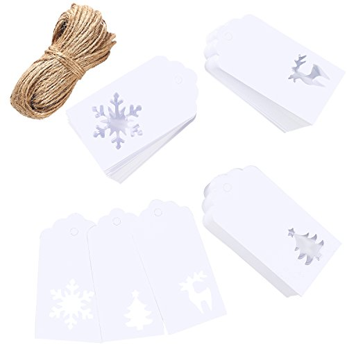 Aneco 150 Pieces Paper Tags Kraft Christmas Tags Hang Labels Christmas Tree Snowflake Reindeer Design for Christmas Gift Favor,DIY Arts and Crafts Wedding Supply with 30 Meters Twine (White)